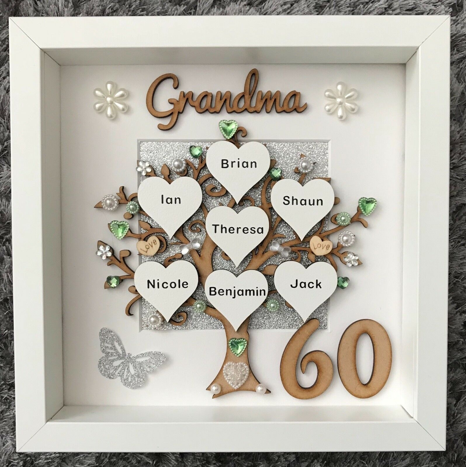 HANDMADE PERSONALISED FAMILY Tree Frame 40th 50th 60th 70th 80th ...