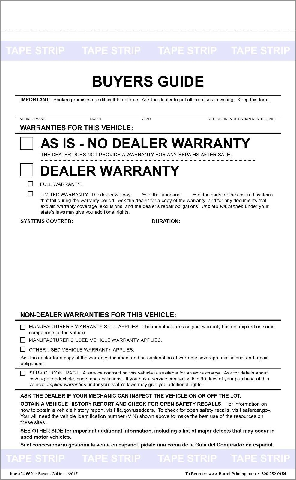 federal buyers guide as is no warranty form pack of 100 18 23 rh picclick com As Is No Warranty Form Sold as Is Form Printable