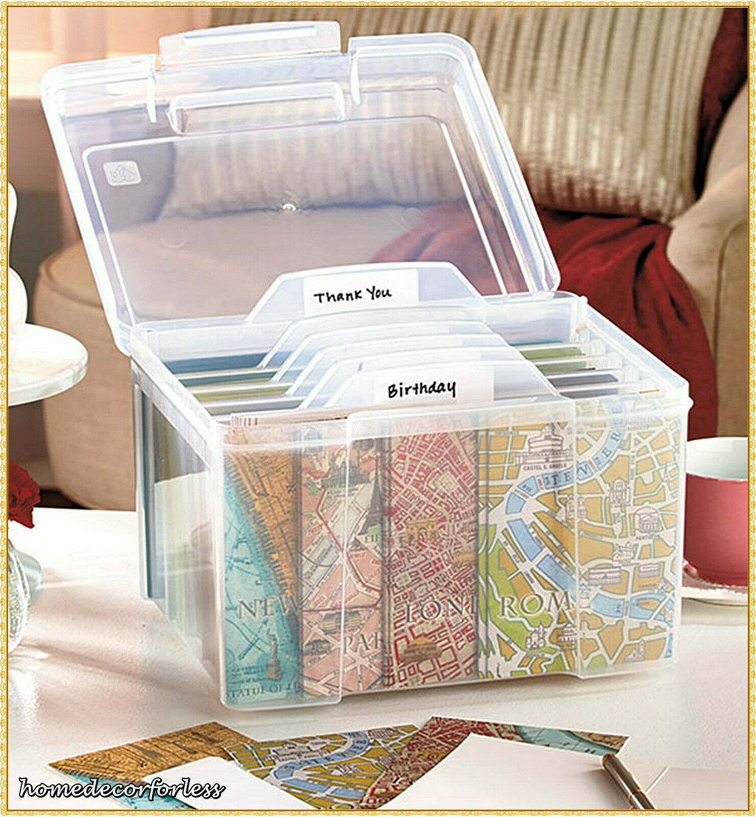 Greeting Card Storage Organizer Box With Dividers Store Cards Sturdy