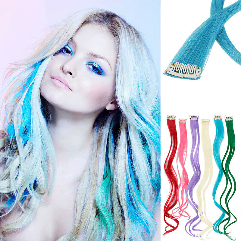 10pc Curly Synthetic Clip In Multi Color Long Highlight Streaks Hair