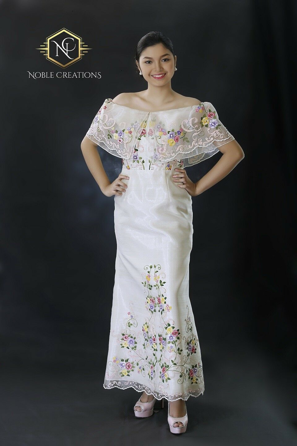 FILIPINIANA DRESS HAND-PAINTED and Embroidered Maria Clara Off ...