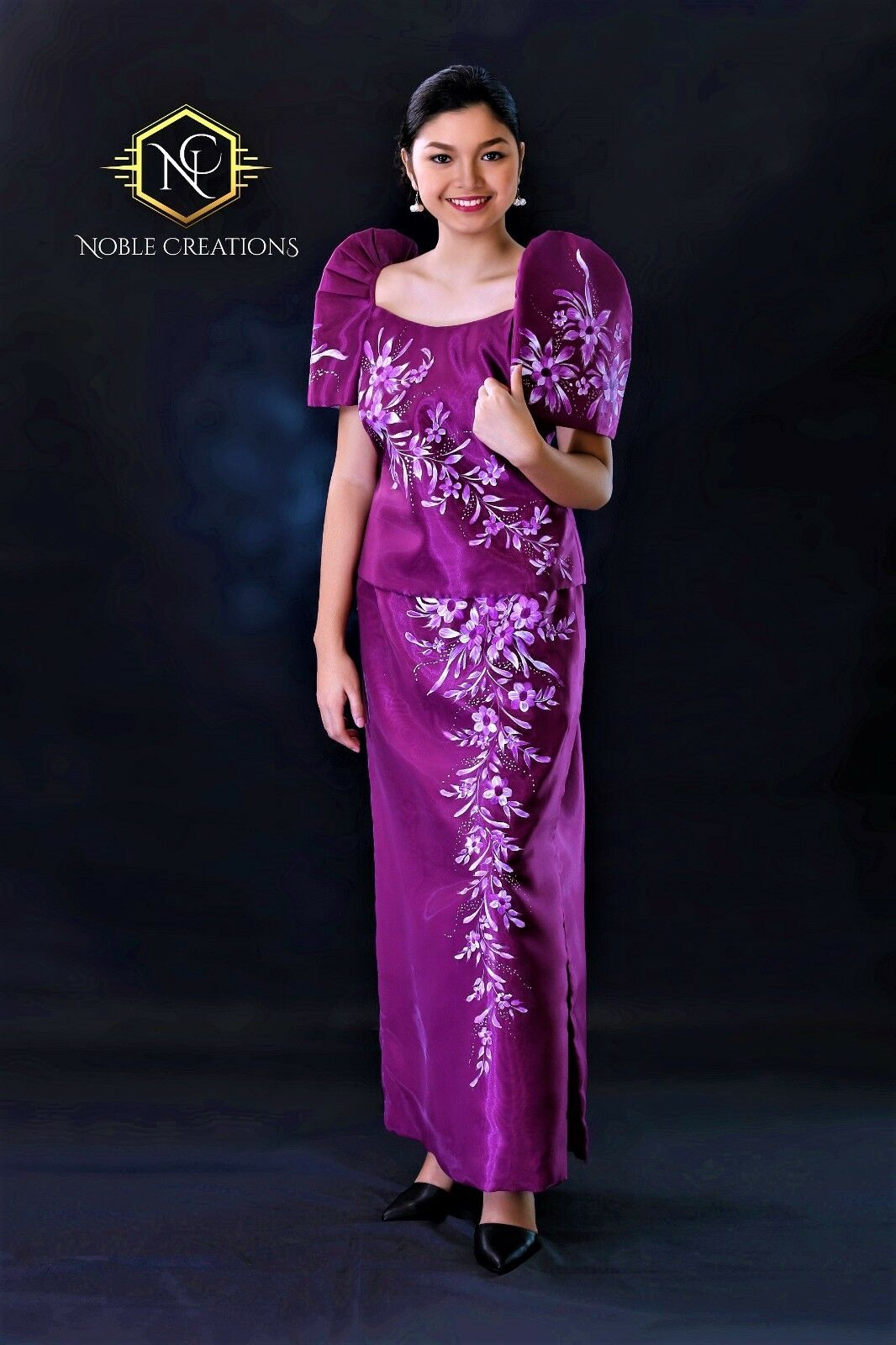 FILIPINIANA DRESS HAND-PAINTED Mestiza Maria Clara Gown Baro\'t-Saya ...
