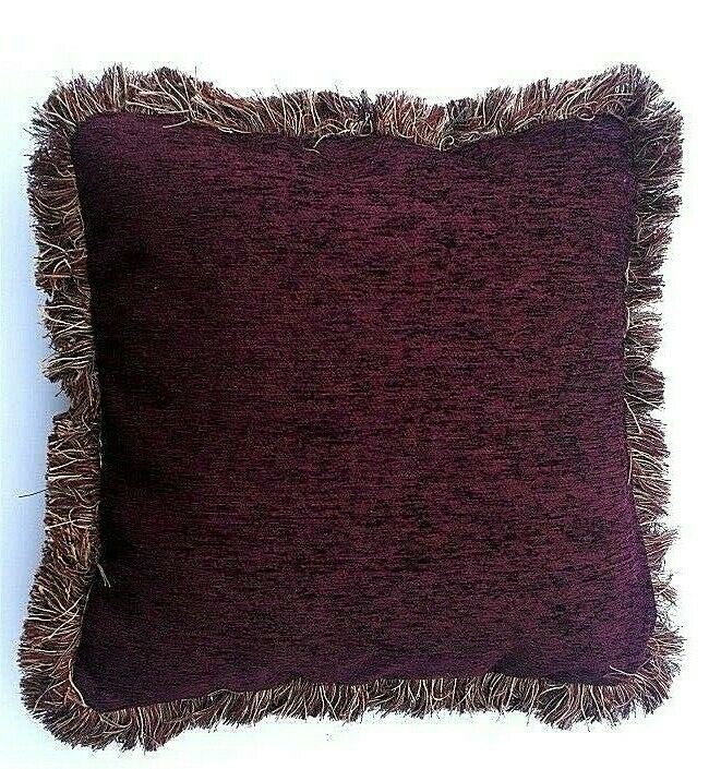 Large Solid Wine Chenille Fringe Decorative Throw Pillow For Sofa