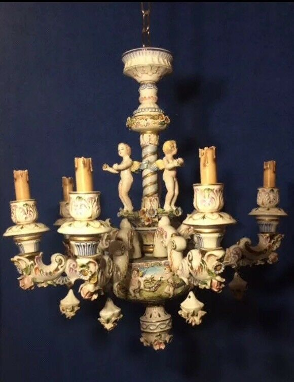 Beautiful Vintage Antique Capodimonte Chandelier Italian Porcelain 6 Branches 1 Of 5only Available