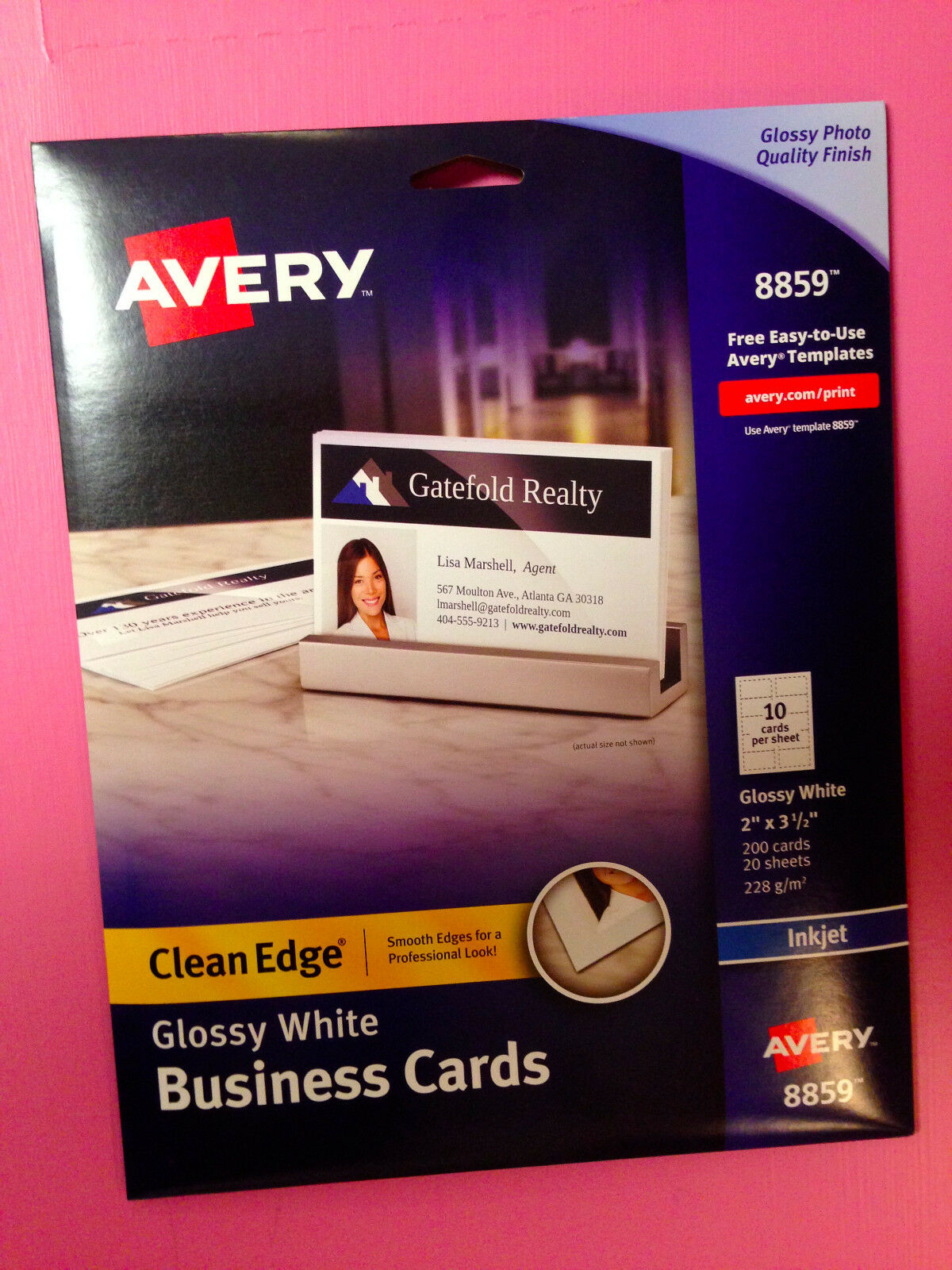 Avery 8859 white glossy clean edge business cards 2 x 35 200 1 of 2free shipping friedricerecipe Choice Image
