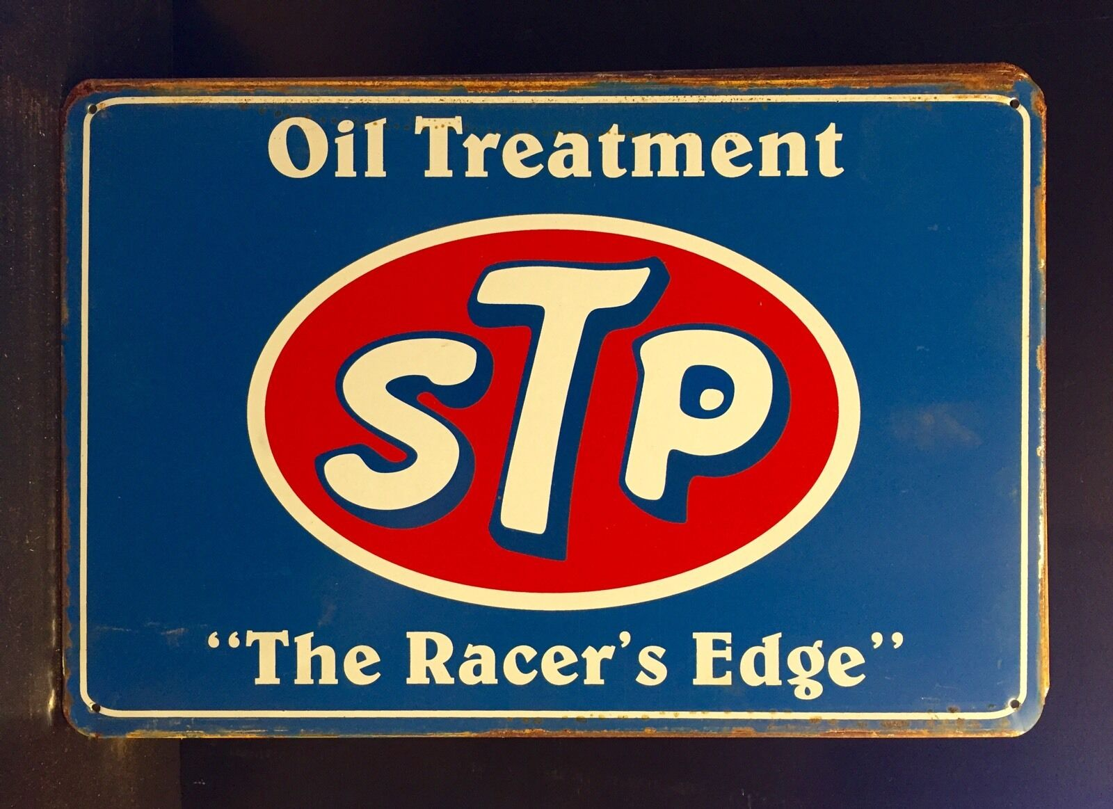 Stp motor oil treatment metal sign vtg retro garage wall for Plaque w garage assurance