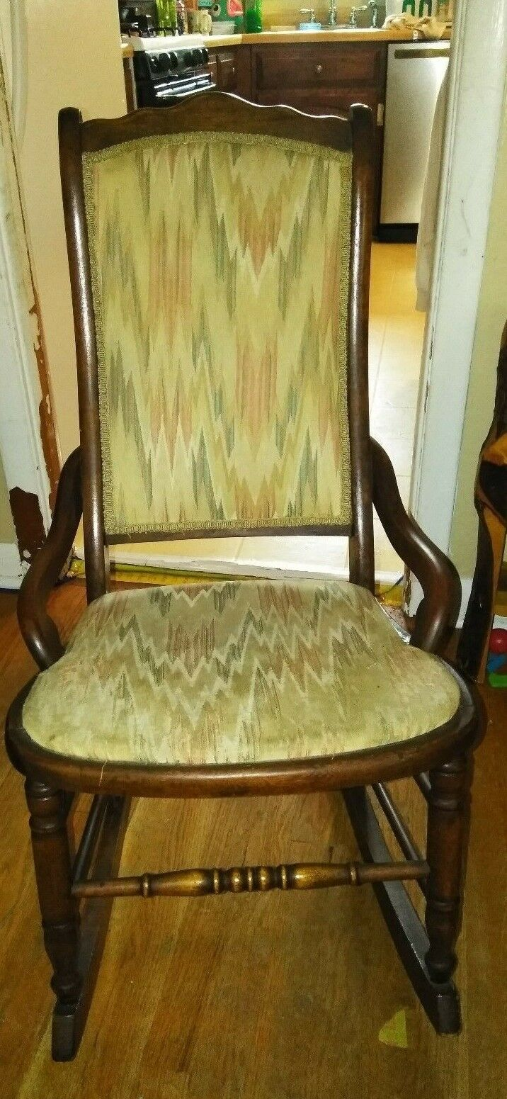 Antique Upholstered Rocking Chair 1 of 12Only 1 available ... - ANTIQUE UPHOLSTERED ROCKING Chair - $100.00 PicClick