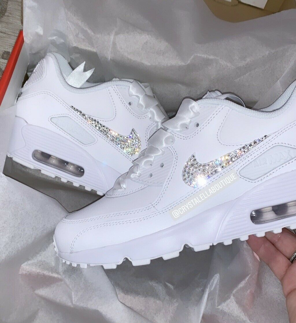 CUSTOMISED CRYSTAL Air NIKE Air CRYSTAL Max 90's in Blanc Nike Swarovski Crystal 3a4391
