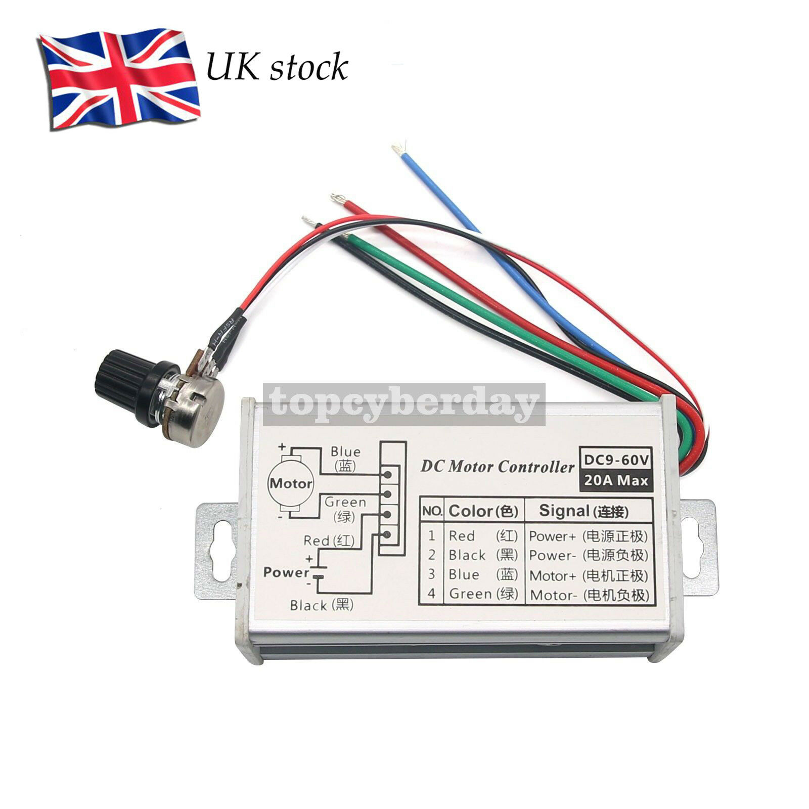 12v 24v 20a Pwm Dc Motor Stepless Variable Speed Control Controller Power Schematic 1 Of 7only 5 Available