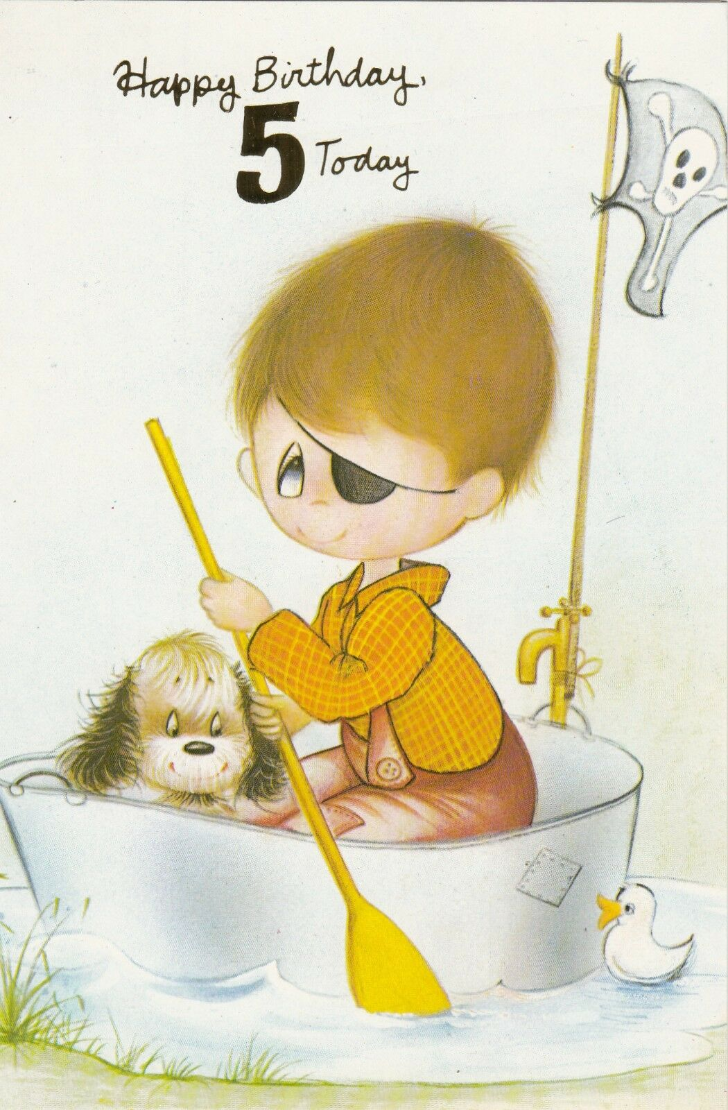 Vintage 1970s Happy 5th Birthday Greeting Card 5 Years Old Pirate