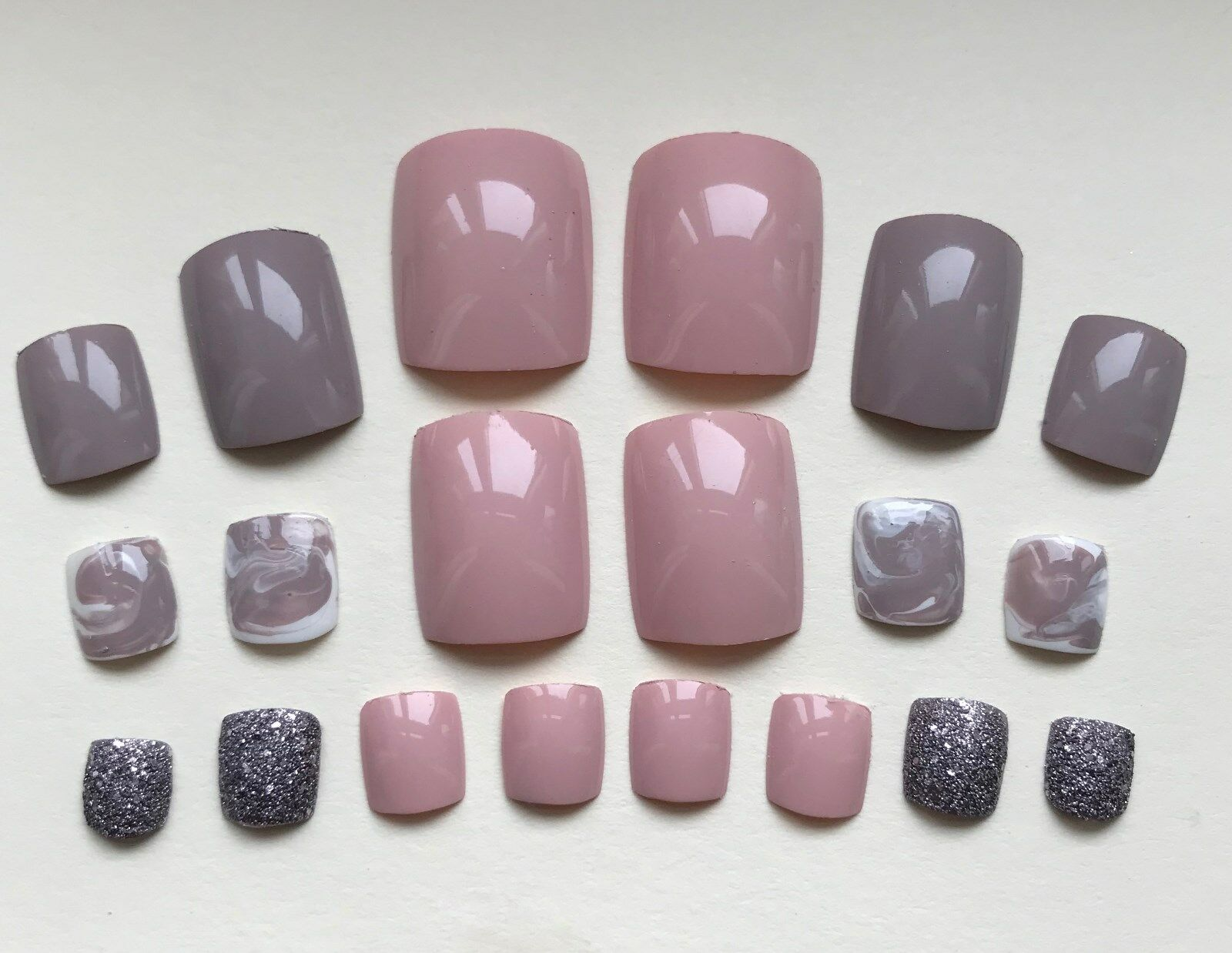 HAND PAINTED FALSE TOE NAILS. Press/Stick on. Set of 20. Nude Pink ...