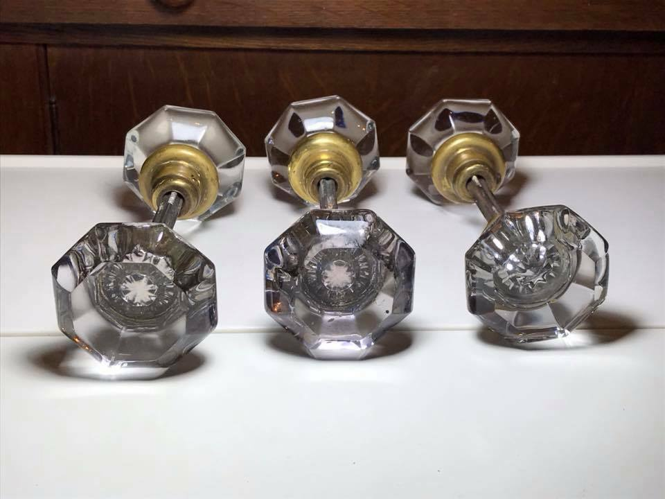 Set Of 3 Antique Crystal Door Knobs