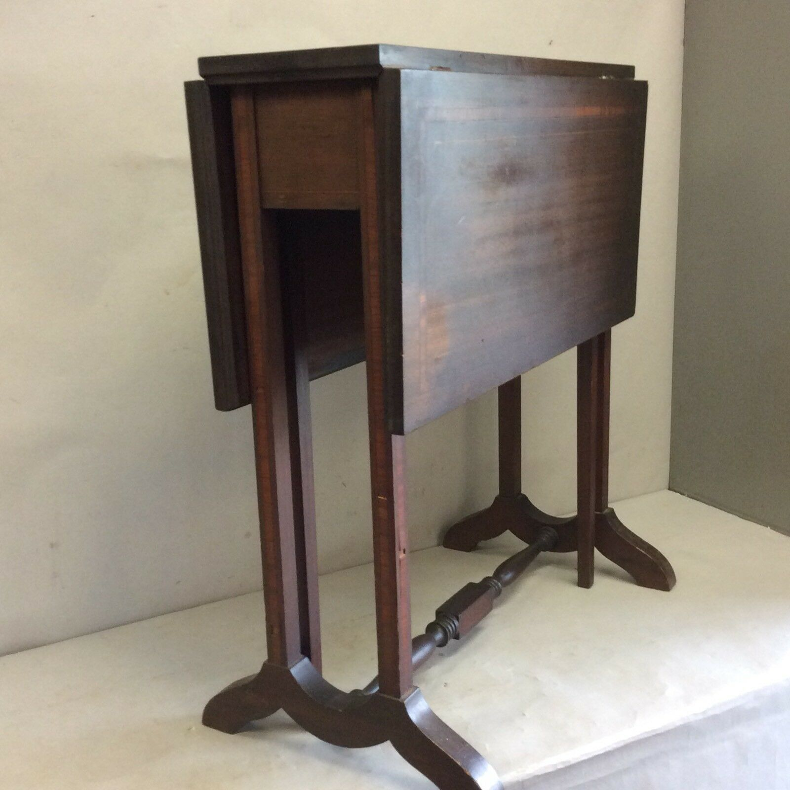 Antique Mahogany Banded Inlaid Drop Leaf Table Small 24 Tall 1 Of 12 See More