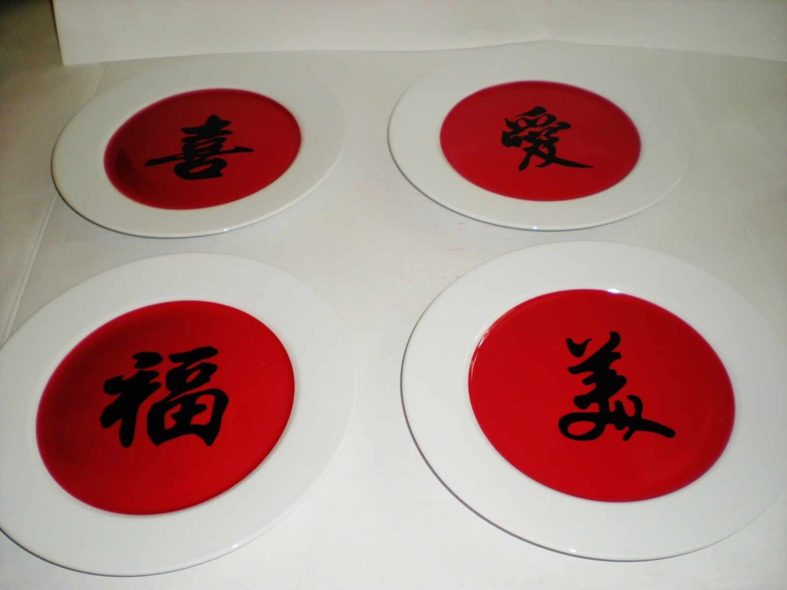 Set Of 4 Royal Limited Accent Plates Japanese Symbol Luck Love