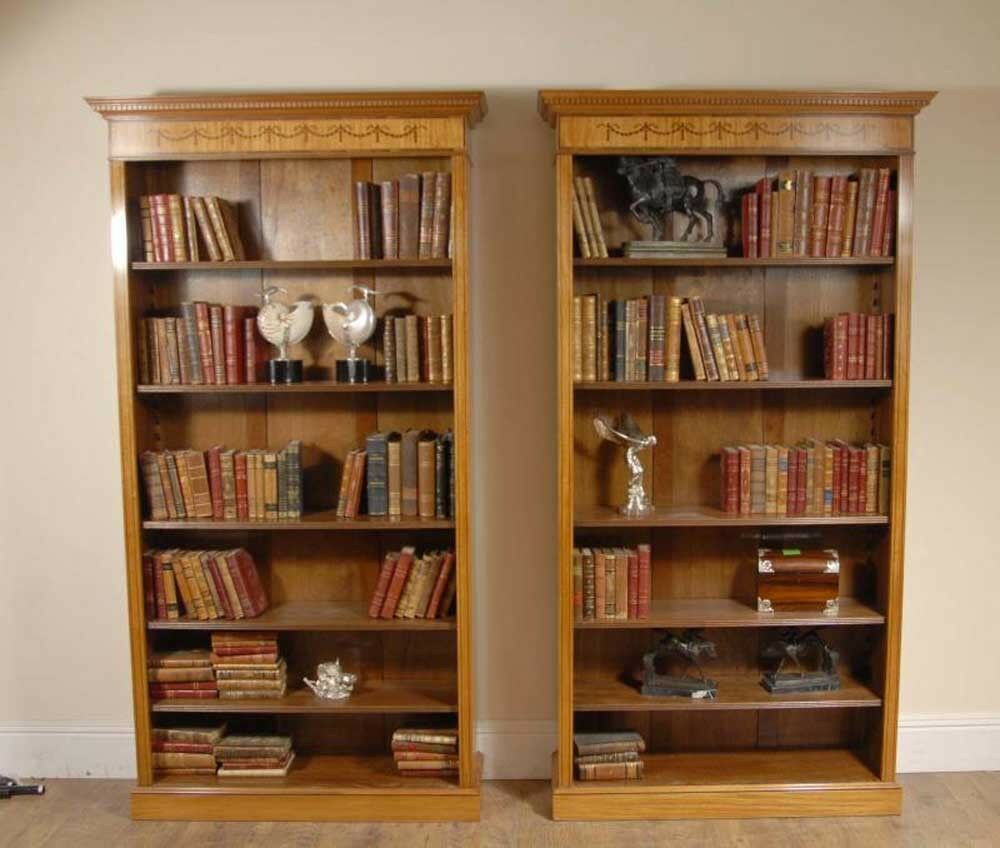 Pair 7 ft English Regency Open Sheraton Bookcases Satinwood