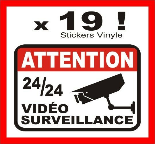 Lot de sticker autocollant exterieur vid o surveillance for Stickers exterieur