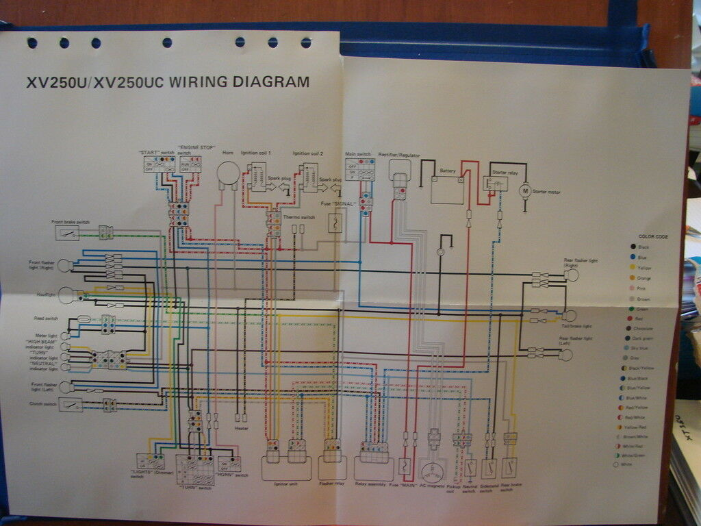 Nos Yamaha Factory Wiring Diagram1988 Xv250 U Uc 1619 Xt350 Diagram 1 Of 1only Available