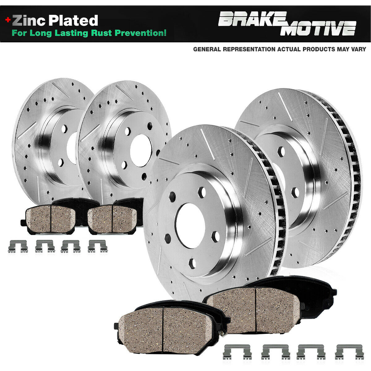 FRONTREAR DRILL SLOT BRAKE ROTORS AND CERAMIC PADS - 2003 acura tl rotors