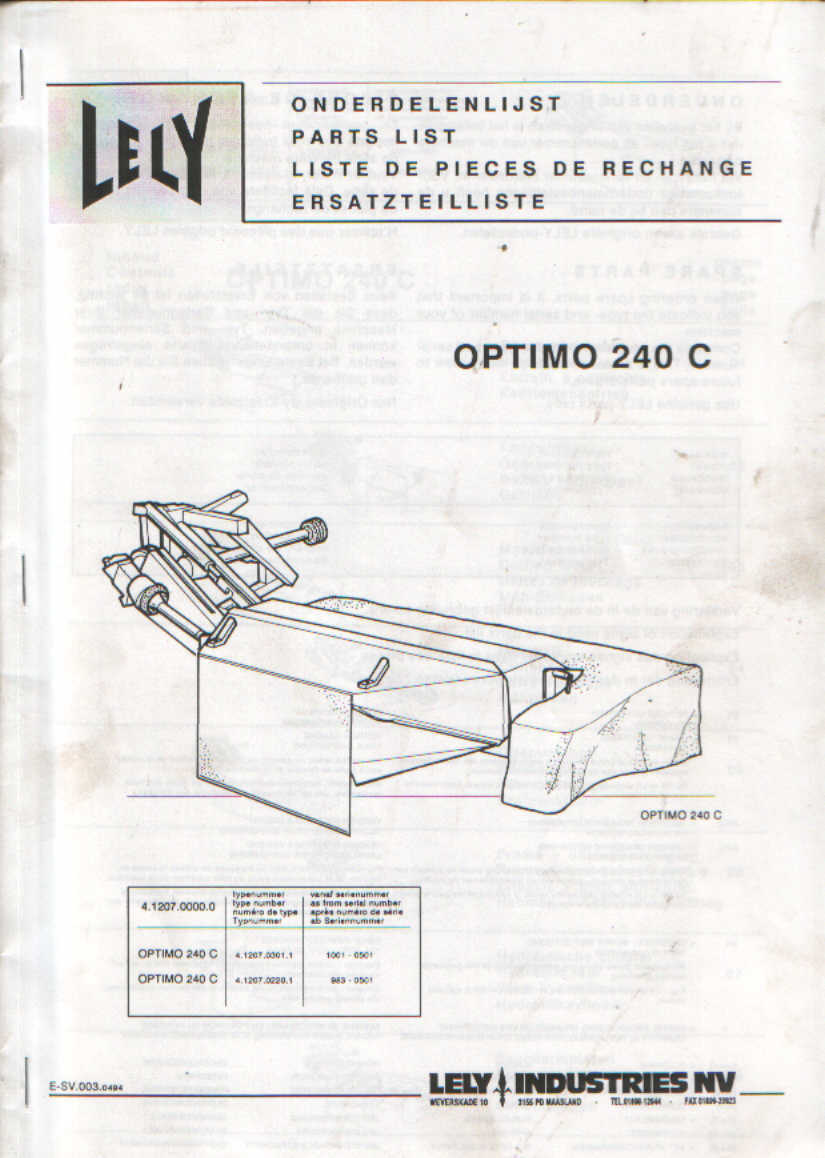 Lely Mower Optimo 240 C Parts Manual 1 of 1FREE Shipping ...