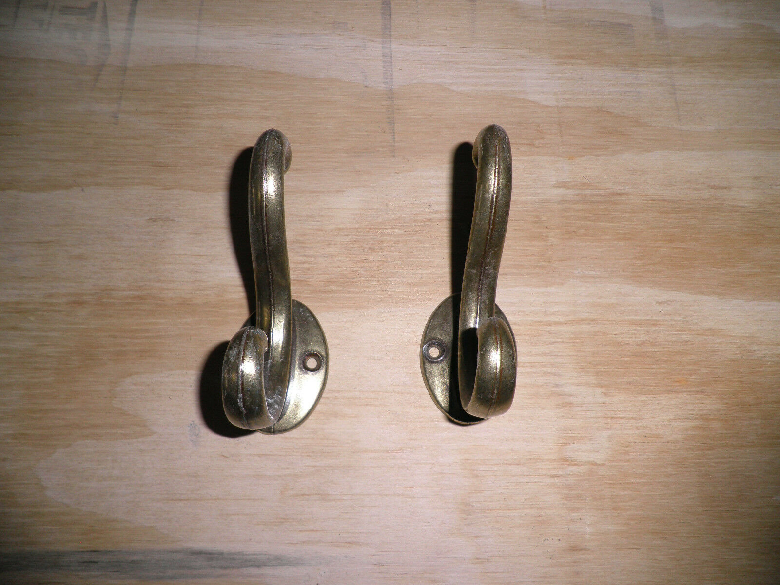 2 Old Brass Coat Hooks maybe Plated