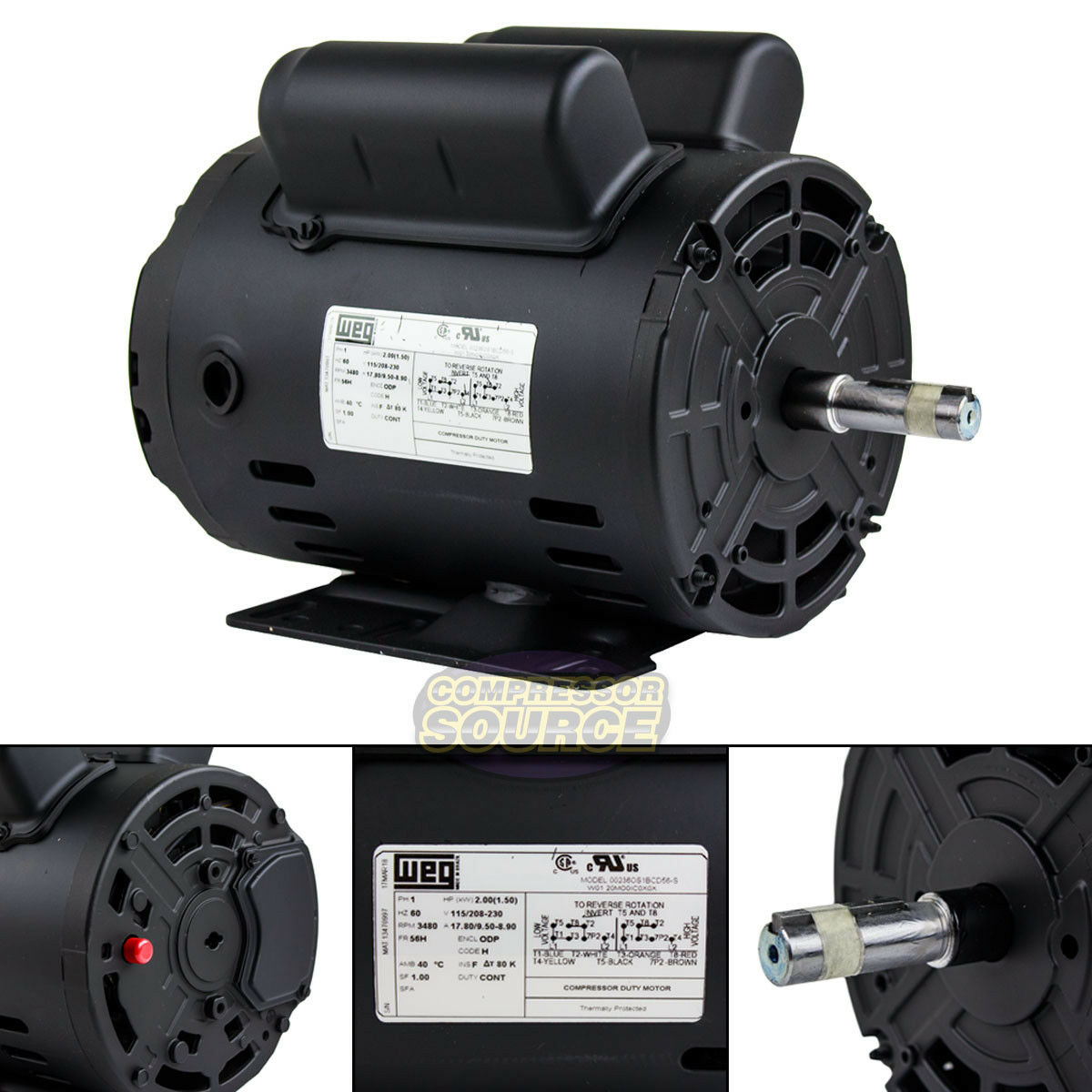 Single Phase Compressor : Hp single phase heavy duty electric compressor motor