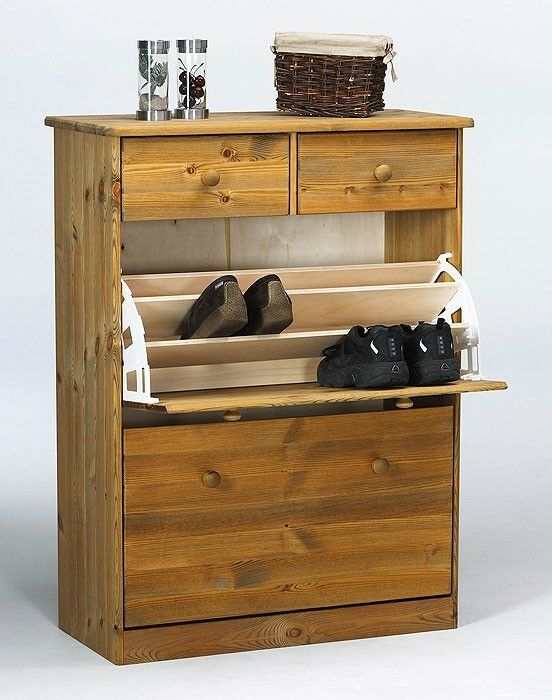 schuhschrank schuhkipper schuhkommode kommode kiefer massiv holz gelaugt ge lt eur 169 00. Black Bedroom Furniture Sets. Home Design Ideas