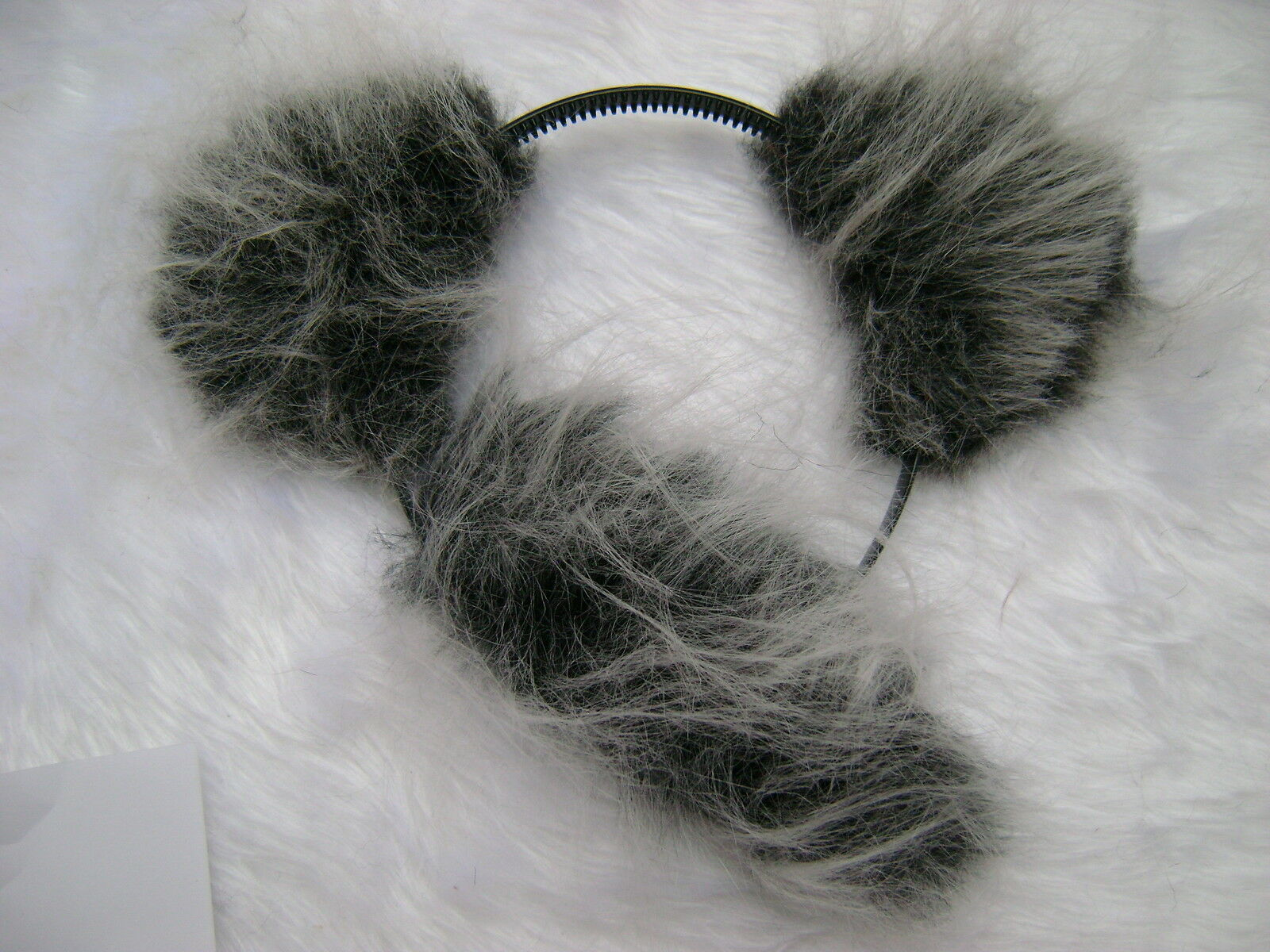 Koala Bear Ears & Tail Set Grey Luxury Faux Fur Fun Animal ...