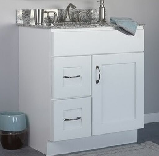 Jsi dover bathroom vanity cabinet white base only 30 1 door 2 left hand drawers - Bathroom vanity cabinet base only ...