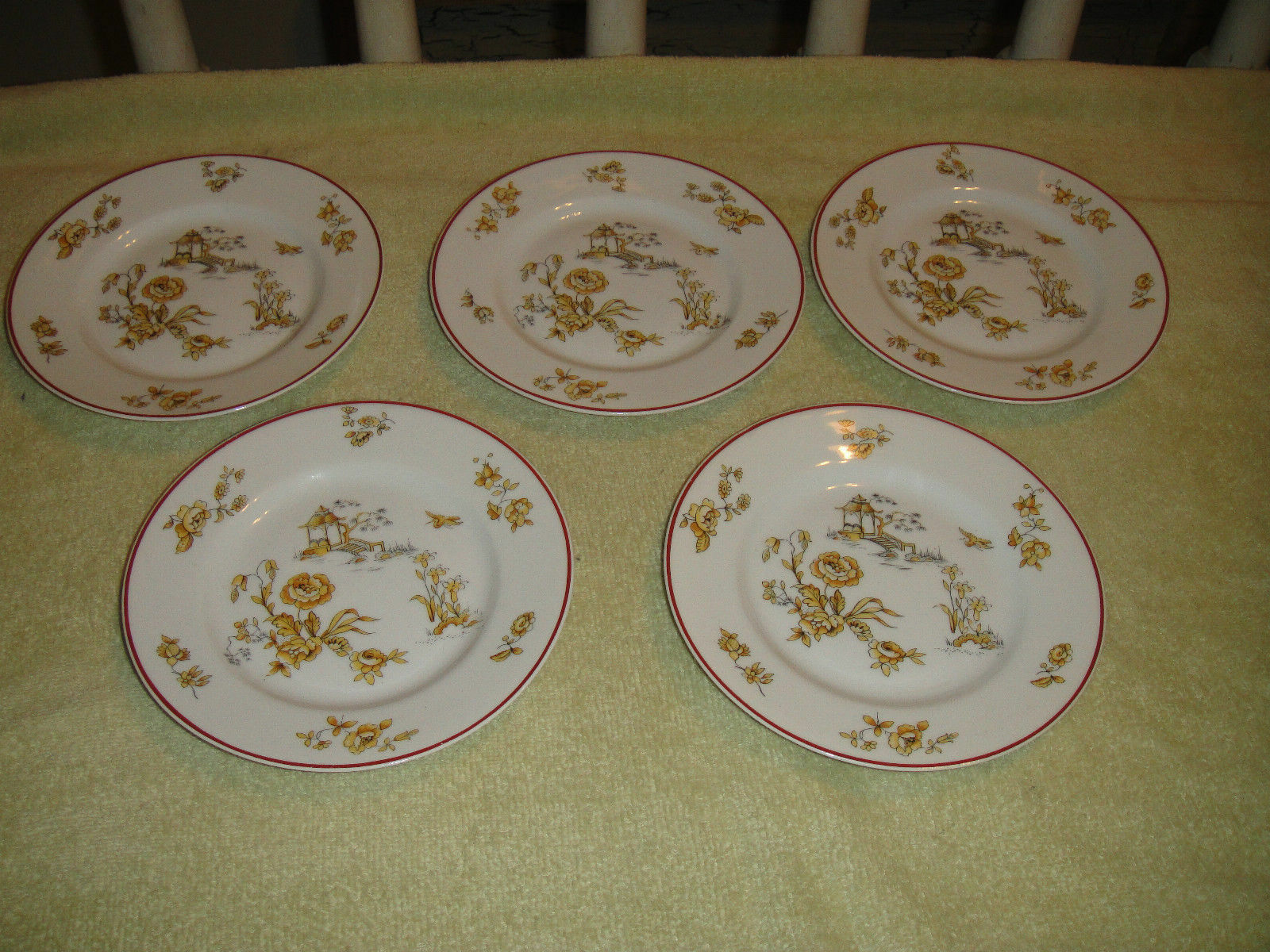 Old Abbey Limoges Bread & Butter Plates-Yellow Flower & Gazebo-5-L ...