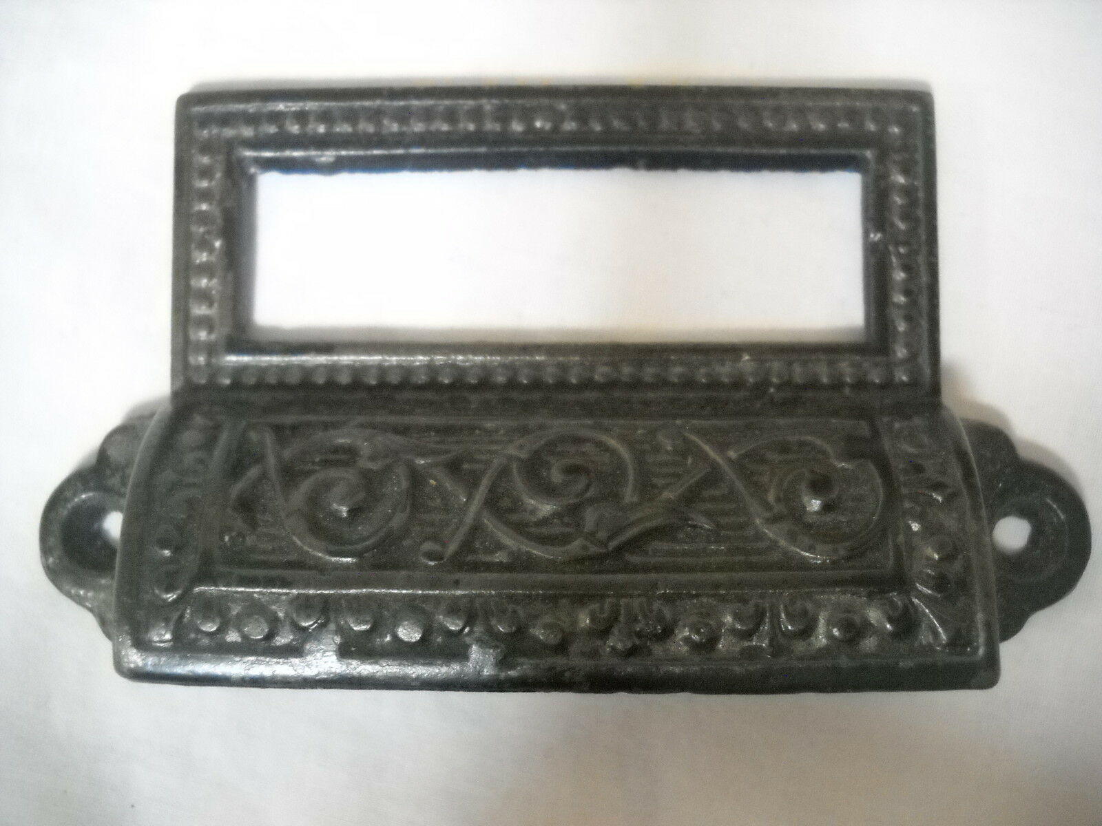 Antique Eastlake Apothecary Bin Drawer Pull Label Slot