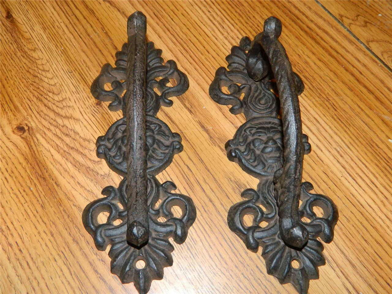 """Set Of 2 Ornate Wrought Iron Lions Head Door Gate Entry Pull Handles  9 1/4"""""""