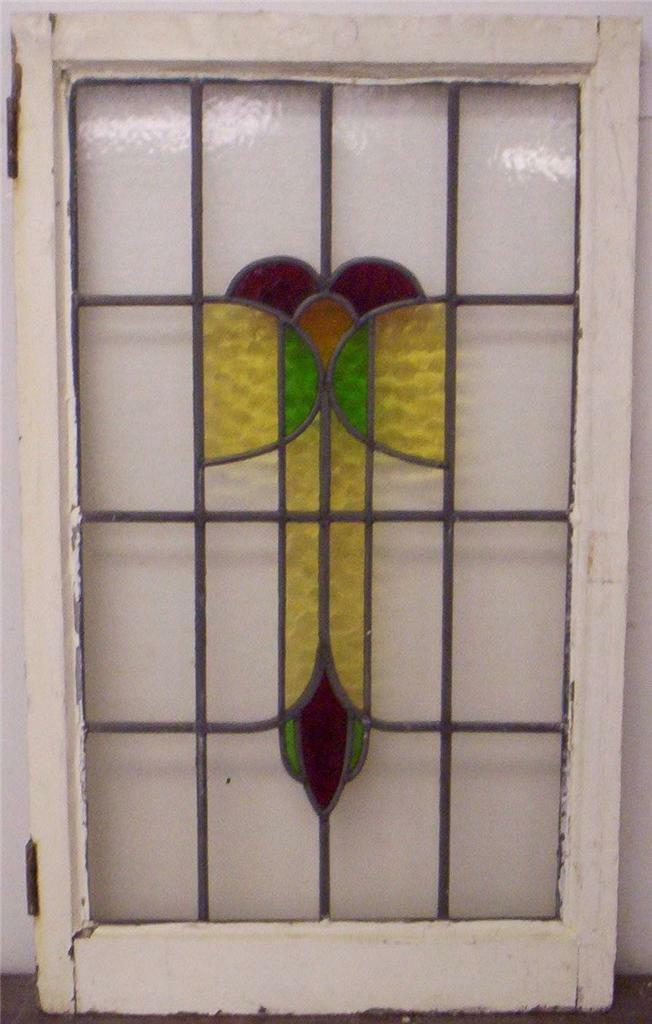 """LARGE OLD ENGLISH LEADED STAINED GLASS WINDOW Floral Design 20.25"""" x 34"""""""