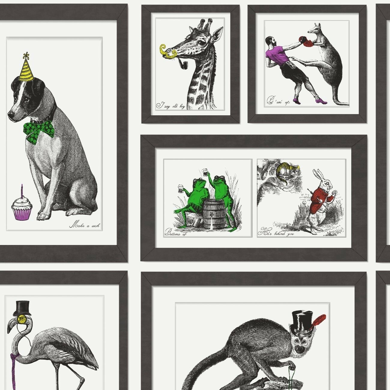 STATEMENT MAD DOGS Multi Feature Frames Wallpaper 97921 - £12.99 ...