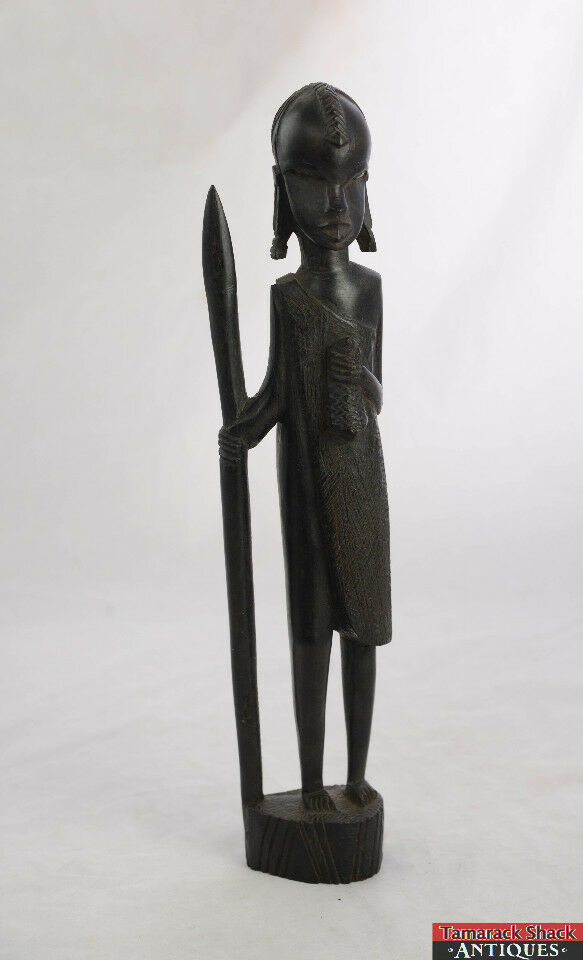 """1960's Wooden Carved Tanzania East African Women Holding Spear And Bag 14 1/2"""""""