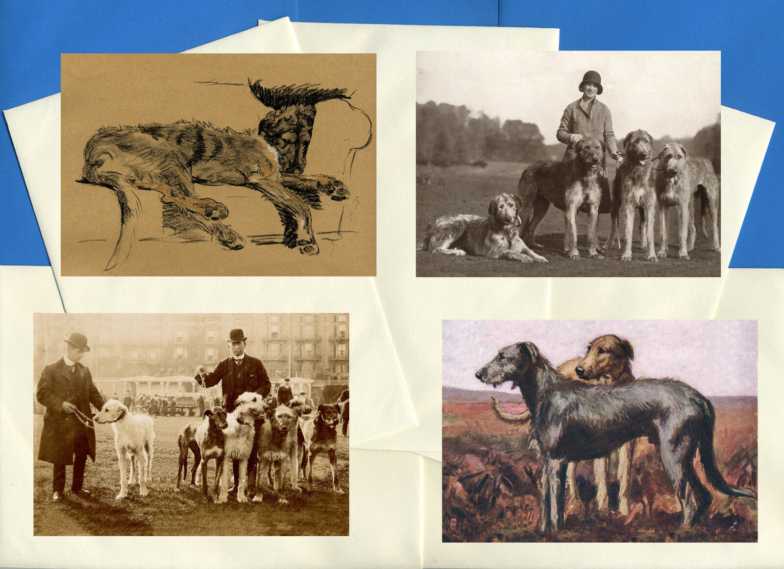 Irish Wolfhound Pack Of 4 Vintage Style Dog Print Greetings Note