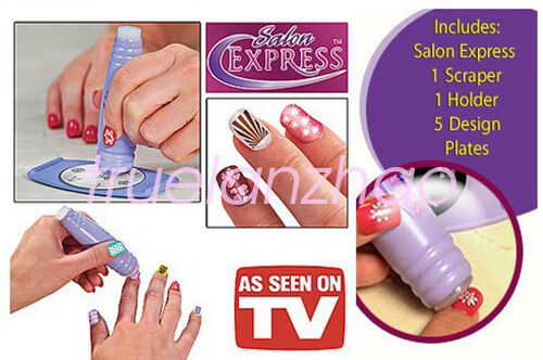 Nail art stamping kit finger stencil salon express as seen on tv nail art stamping kit finger stencil salon express as seen on tv prinsesfo Image collections