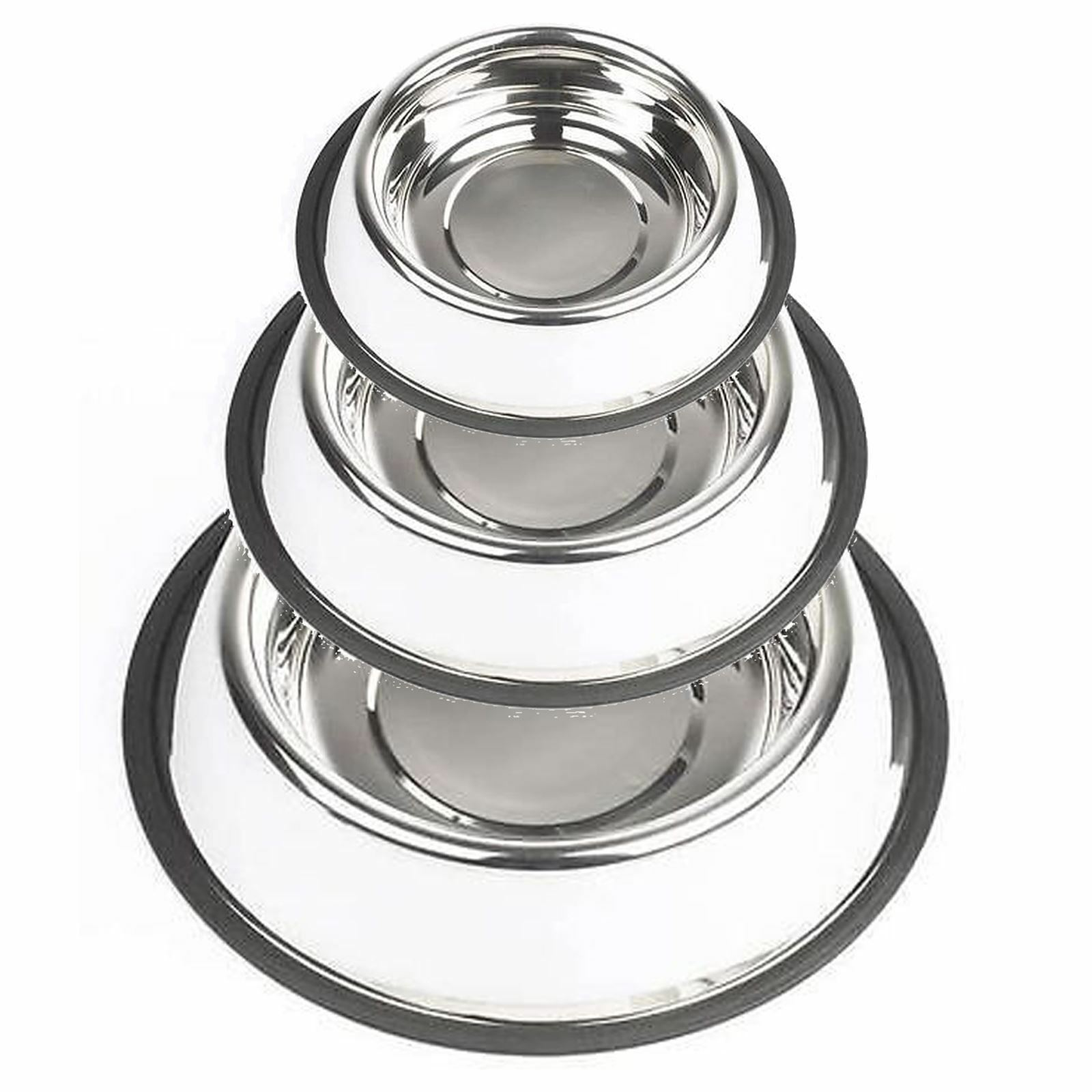 Metal Stainless Steel Cat Dog Drink Bowl Polished Durable Non Slip Rubber Grip