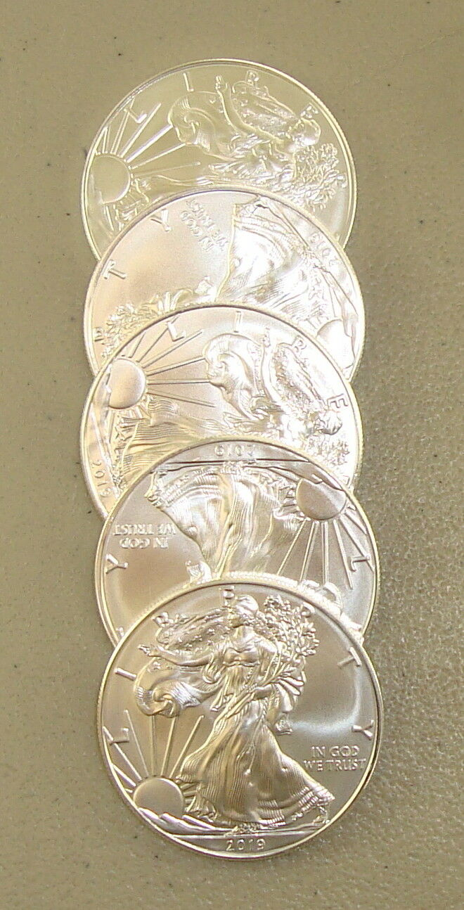 Lot of (5) 2017 1 oz .999 Fine American Silver Eagle Bullion Coins