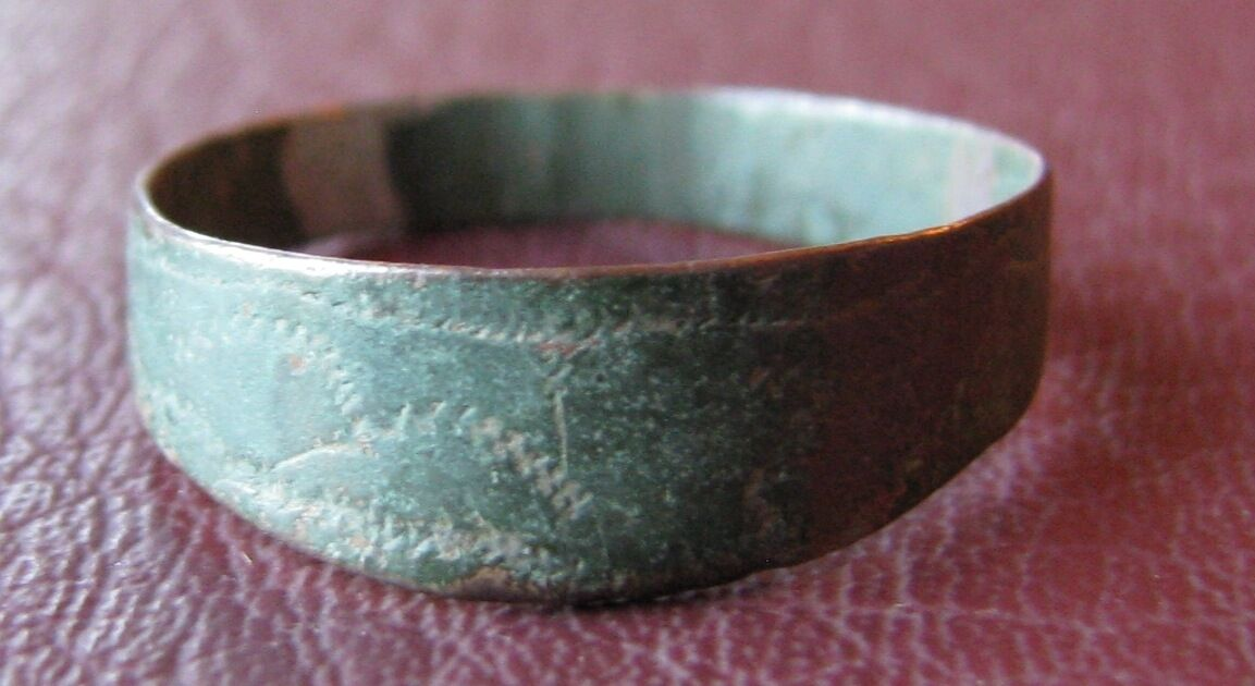 Authentic Ancient Artifact >Unidentified Bronze RING SZ: 9 1/4 US 19.25mm 11554