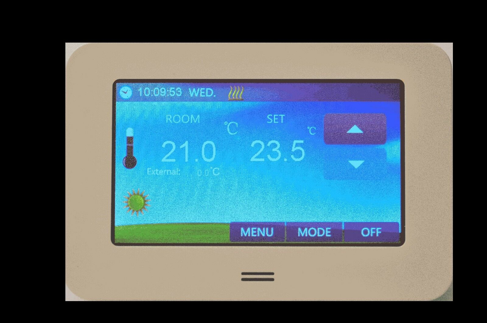 digital raumthermostat lcd color touchscreen 4 3 inch fu bodenheizung cts white. Black Bedroom Furniture Sets. Home Design Ideas