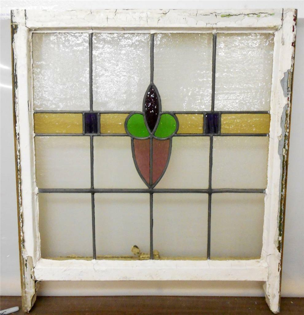 """LARGE OLD ENGLISH LEADED STAINED GLASS WINDOW Heart Floral design 26"""" x 25.75"""""""