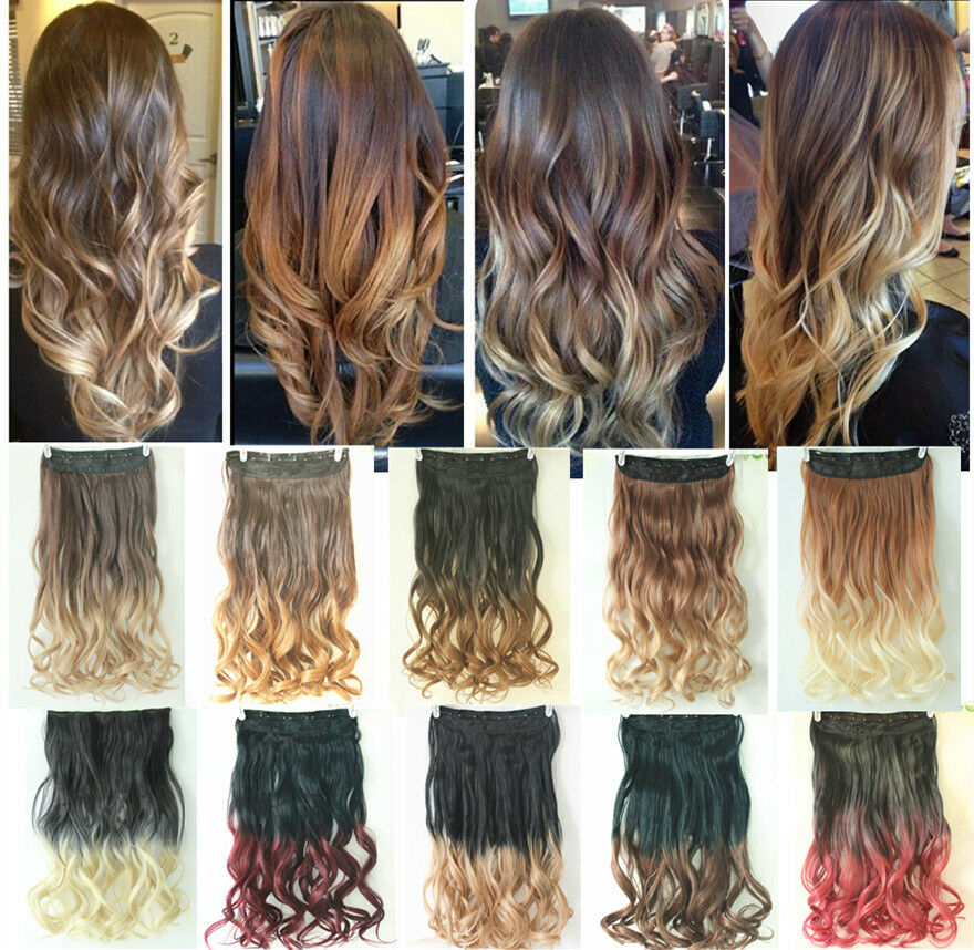 Dip Dye Clip In On Ombre Hair Extensions Synthetic Straight Curly