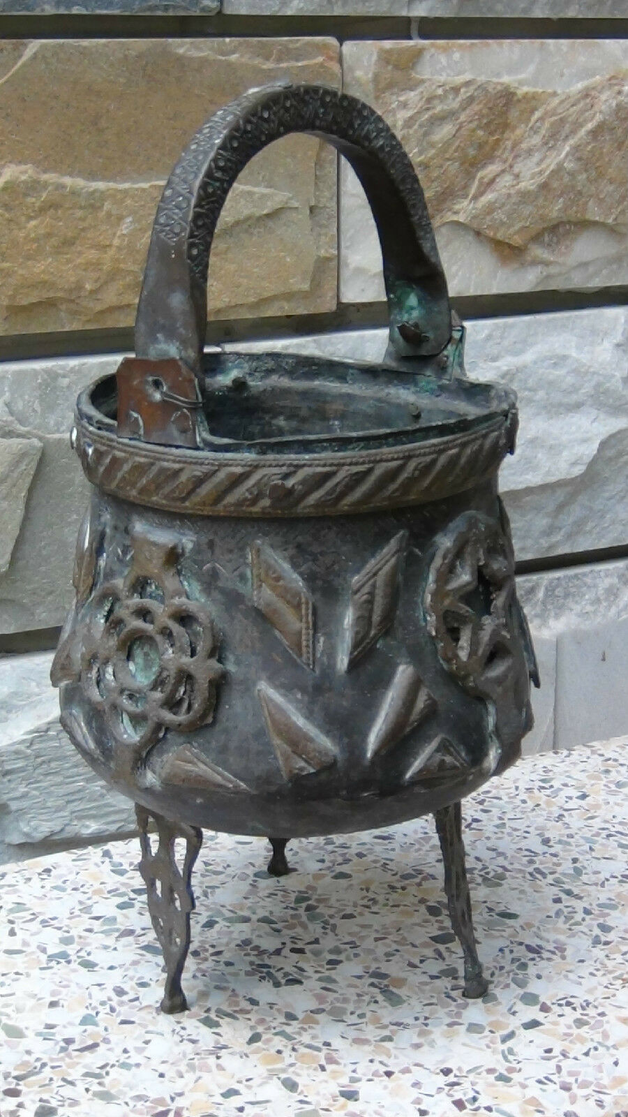 Antique 18C Islamic Middle Eastern Bronze Footed High Ornamental Floor Pot