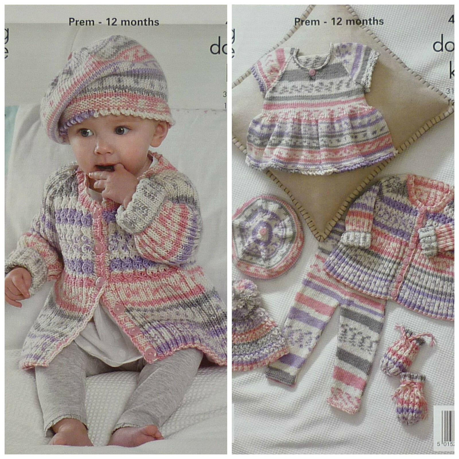 Knitted Beret Pattern Toddler : KNITTING PATTERN Baby Cable & Rib Coat Beret Hat Top & Mitts DK King ...