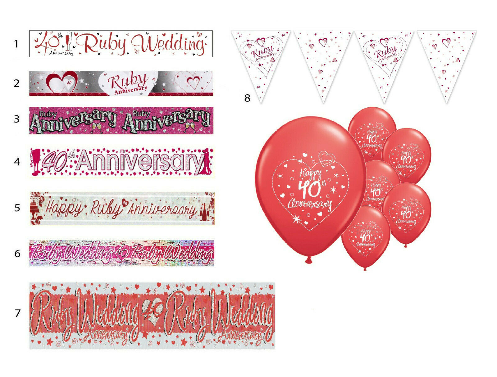 40TH RUBY WEDDING ANNIVERSARY BANNERS 8 DESIGNS PARTY DECORATIONS ...