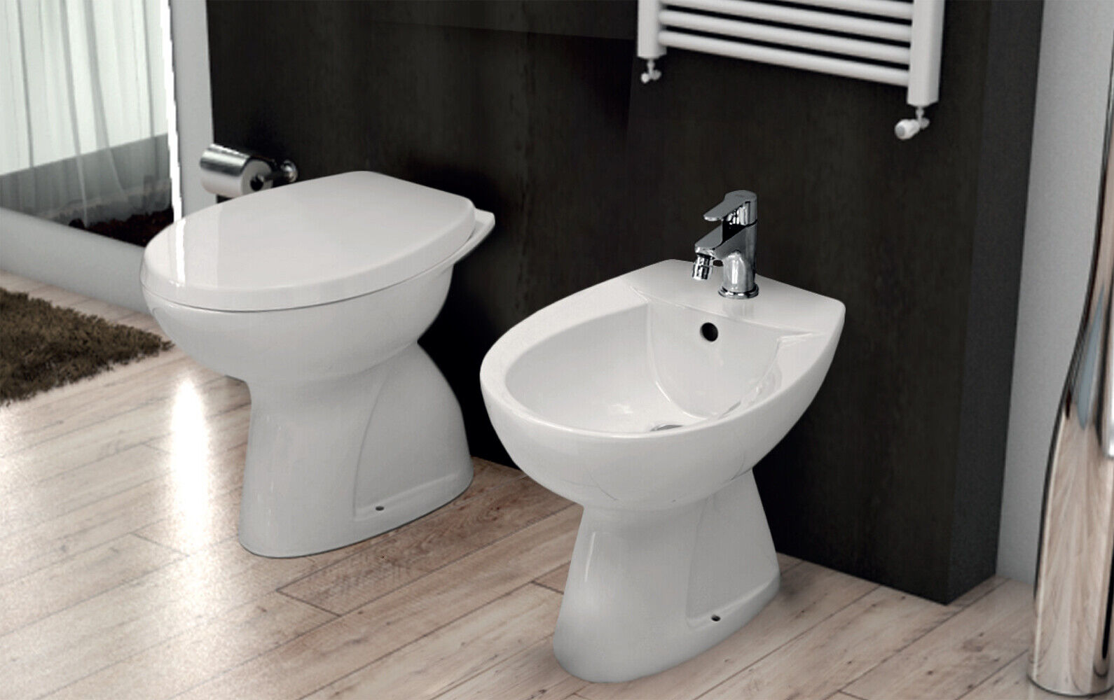 Sanitari a terra ideal standard vaso wc con scarico a for Wc con bidet