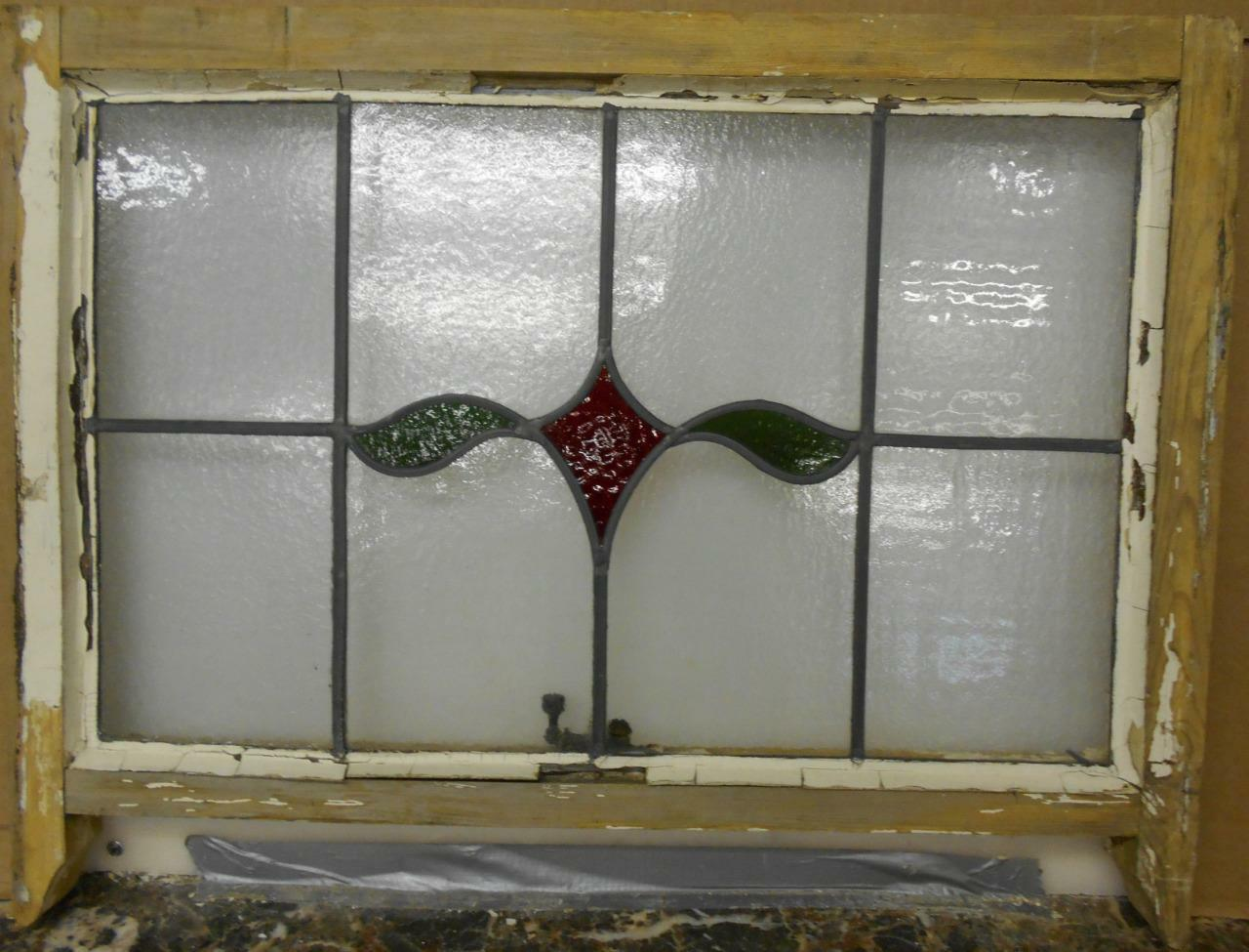 """EDWARDIAN ENGLISH LEADED STAINED GLASS  SASH WINDOW Simple Abstract 28.5"""" x 19"""""""