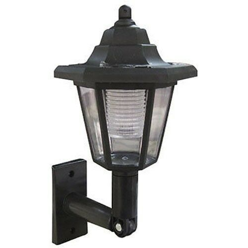 solar power wall lantern lamp sun lights black outdoor mount garden