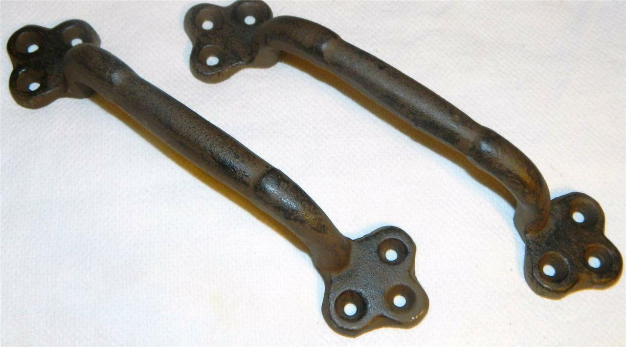 "Pair~2 Pcs~9""  Iron Garden Gate Handles Barn Door Drawer Tool Box Pulls"