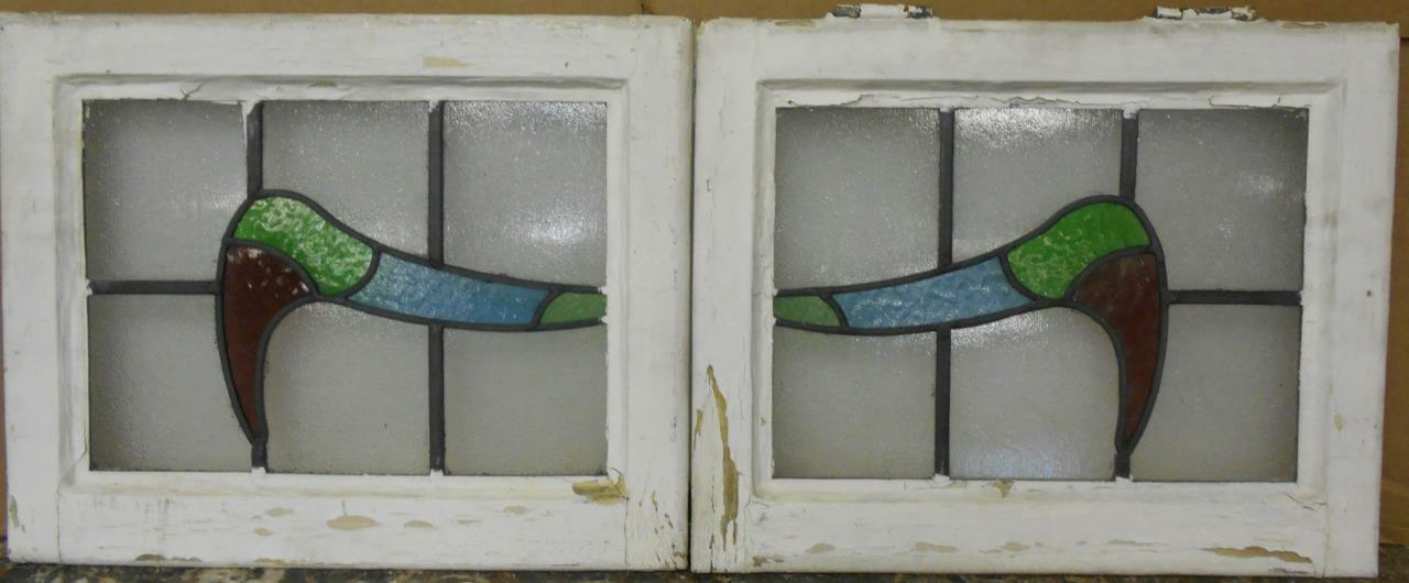 "PAIR OF OLD ENGLISH STAINED GLASS WINDOWS Nice Abstract Design 18.25"" x 14.5"""